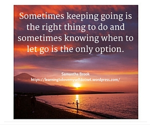 Sometimes keeping going is the right thing to do and sometimes knowing when to let go is the only option. (1)